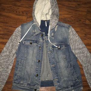 Free People Denim Jacket w/ Knit Hood & Sleeves